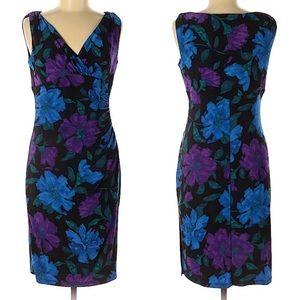 Lauren Ralph Lauren black w/ purple blue floral